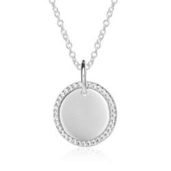 Gravur Kette für Damen aus 925er Silber mit Zirkonia