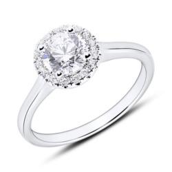 Haloring aus 750er Weißgold mit Diamanten