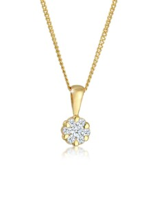 Halskette Blume Brilliant Diamant (0.12 Ct.) 585 Gelbgold DIAMORE Gold