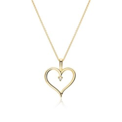 Halskette Herz aus 585er Gold mit Diamant