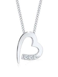 Halskette Herz Klassisch Diamant (0.04 Ct.) 925 Silber DIAMORE Weiß