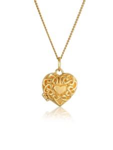 Halskette Herz Ornament Amulett Medaillon 585 Gelbgold Elli Premium Gold