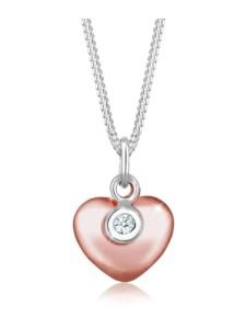 Halskette Herz Solitär Bi-Color Diamant (0.03Ct.) Silber DIAMORE Silber