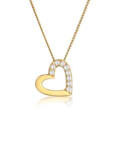 Halskette Herz Zirkonia 585 Gelbgold Elli Premium Gold