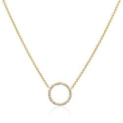 Halskette Kreis für Damen aus 14K Gold mit Diamanten
