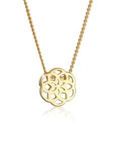 Halskette Ornament Blüte Floral Edel Cut-Out 585 Gelbgold Elli Premium Gold