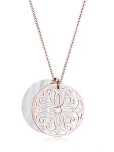 Halskette Ornament Perlmutt Topas 925 Sterling Silber Elli Premium Rosegold