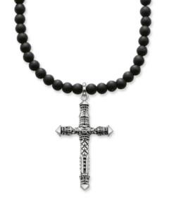 Halskette Rebel at Heart aus 925 Sterling Silber mit Obsidianen