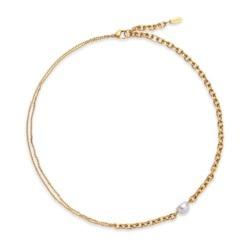 Halskette Treasure Duo aus Edelstahl, vergoldet
