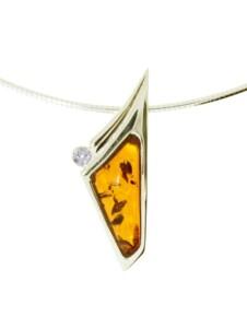 Halsreif mit Anhänger – Gleiter-Agneta – Silber 925/000, vergoldet – Bernstein/Zirkonia OSTSEE-SCHMUCK gelb