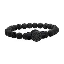 Herren Armband P Circle mit Lavastein Perlen gravierbar
