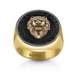 Herrenring Löwen Siegel aus Edelstahl, vergoldet