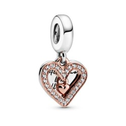 Herz Charm Anhänger aus 925er Silber, ROSE