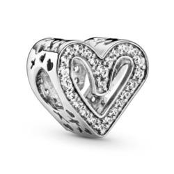 Herz Charm aus 925er Silber mit Zirkonia