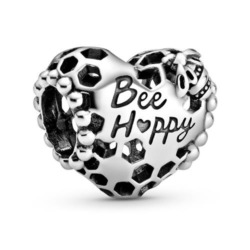 Herz Charm Bee Happy aus 925er Silber mit Wabenstruktur