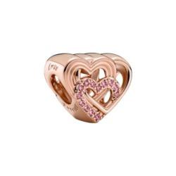 Herz Charm, rosévergoldet mit rosafarbenen Zirkonia