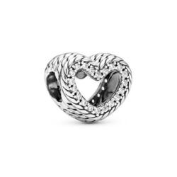Herz Charm Schlangengliedermuster aus 925er Silber