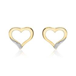 Herz Ohrstecker für Damen aus 14K Gold mit Brillanten