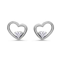 Herz Ohrstecker für Damen aus 925er Silber mit Zirkonia