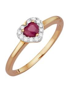 Herz-Ring Diemer Farbstein Rot