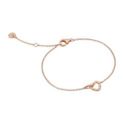 Herzarmband aus rosévergoldetem 925er Silber, Zirkonia