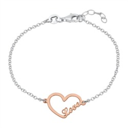 Herzarmband Love aus 925er Silber rosévergoldet