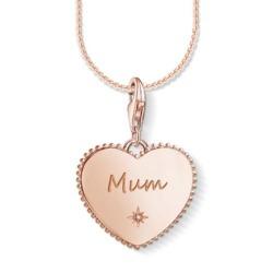 Herzförmiger Gravur Charm Mum aus 925er Silber, rosé