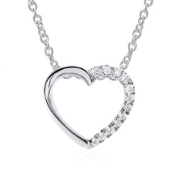 Herzkette aus 585er Weißgold mit Diamanten
