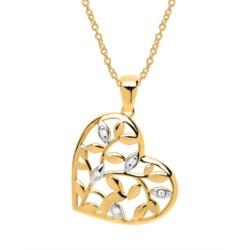 Herzkette Blätterranken aus 8K Gold und Zirkonia