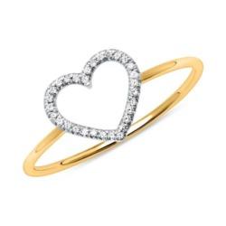 Herzring für Damen aus 14-karätigem Gold mit Brillanten