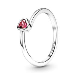 Herzring für Damen aus 925er Silber mit rotem Zirkonia