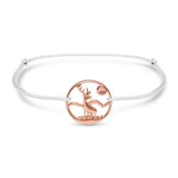Hirsch Armband für Damen aus 925er Silber, rosé