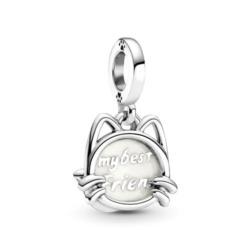Katzen Charm Anhänger aus 925er Silber mit Emaille
