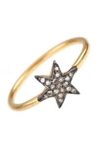 KELLY Diamant Stern Ring vergoldet