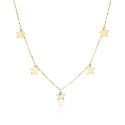 Kette für Damen mit Sternen aus 9K Gold