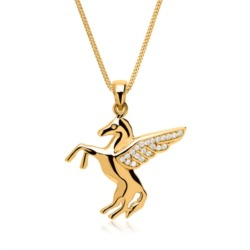 Kette geflügeltes Pferd 333er Gold mit Zirkonia