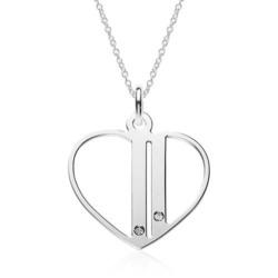 Kette Herz aus 925er Silber mit Zirkonia, gravierbar