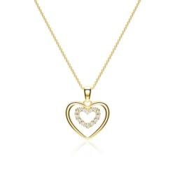 Kette Herzen aus 14K Gold mit Diamanten