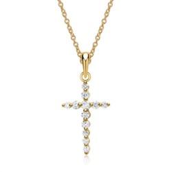 Kette Kreuz Gelbgold 12 Diamanten 0,29ct.
