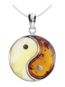 Kette mit Anhänger – Yin & Yang – Silber 925/000 – Bernstein OSTSEE-SCHMUCK silber