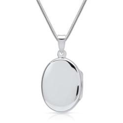 Kette und Herz Medaillon aus 925er Silber, gravierbar