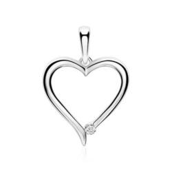 Kettenanhänger Herz aus 14K Weißgold mit Diamant