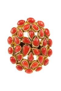Korallen Ring vergoldet