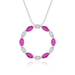 Kreiskette aus 14K Weißgold mit Diamanten und Rubinen