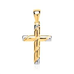 Kreuz Anhänger 333er Gold bicolor
