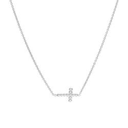 Kreuzkette für Damen aus Sterlingsilber mit Zirkonia