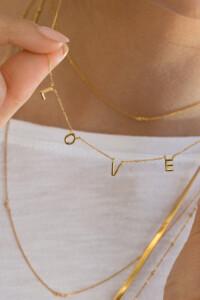 L.O.V.E. Halskette gelb vergoldet