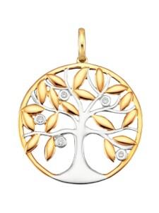 Lebensbaum-Anhänger Diemer Diamant Gelbgoldfarben