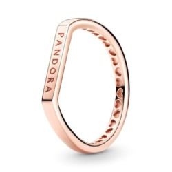 Logo Stacking Ring für Damen, rosé