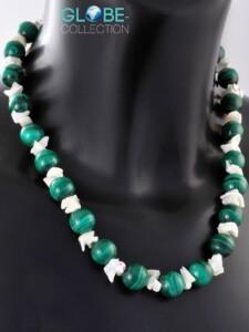 Malachit Halskette 925 Silber 1001 Diamonds grün